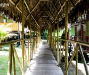Amazon lodge outdoor pathway Iquitos Peru