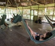 Chillin time in the Amazon lodge.