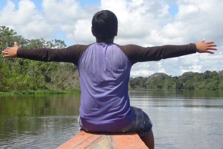 Enjoying in the Amazon river
