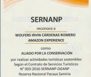 Pacaya Samiria entry permit by SERNANP, Peru