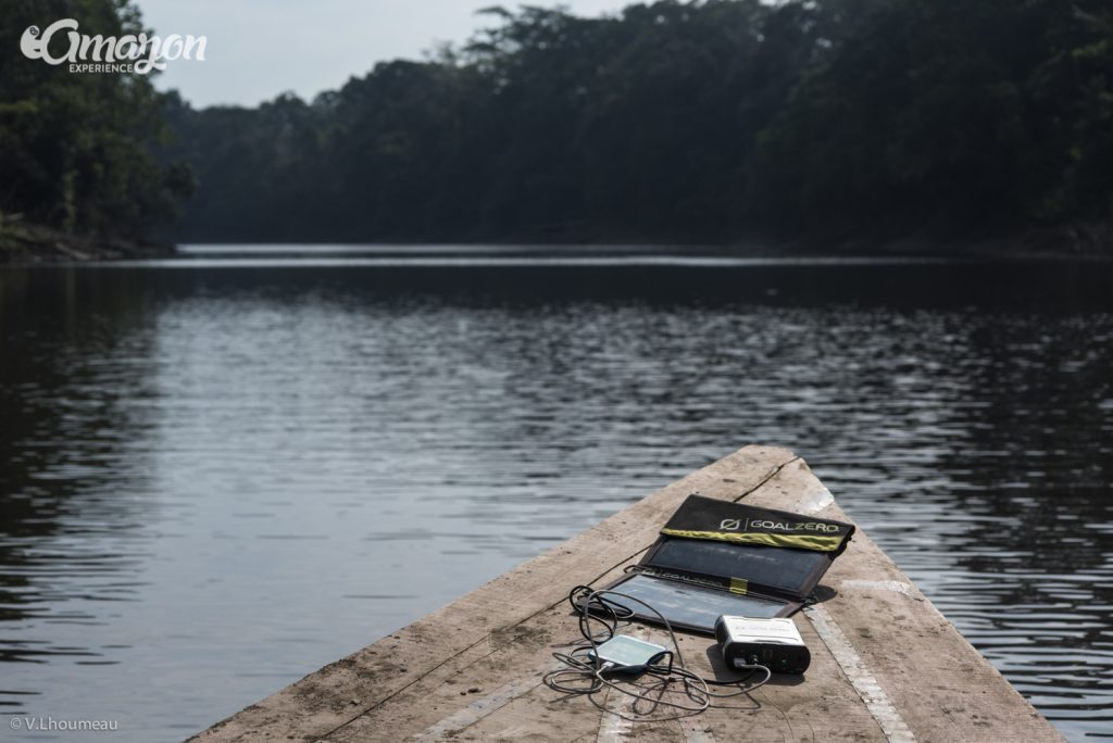 Solar panel and solar battery in Amazon jungle tours