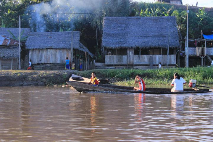 A boat near a local village inside the Amazon