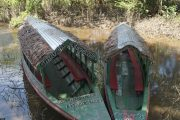 a couple of our motorboats in the Amazon river