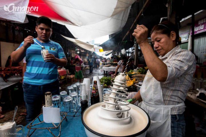 Ponche de huevo in Belen market, Iquitos, Peru