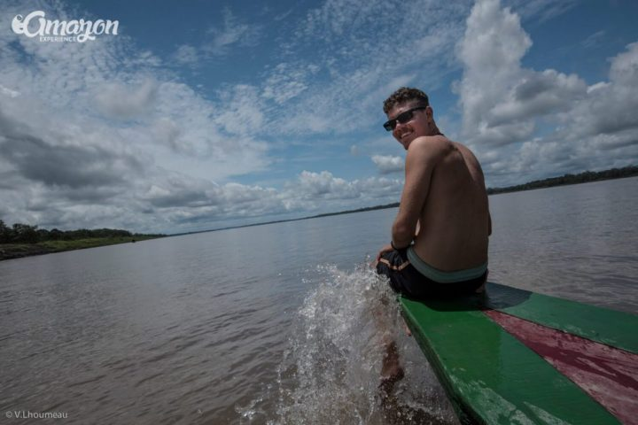 Amazon jungle tours. Our friend enjoying the view in the Amazon river.