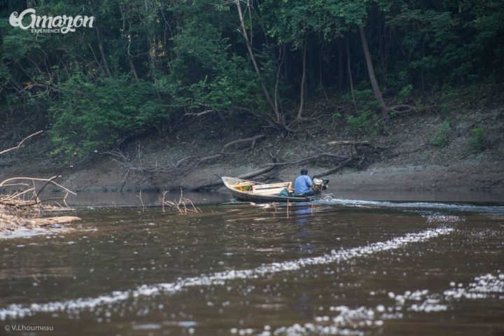 A small motorboat inside the Pacaya Samiria reserve