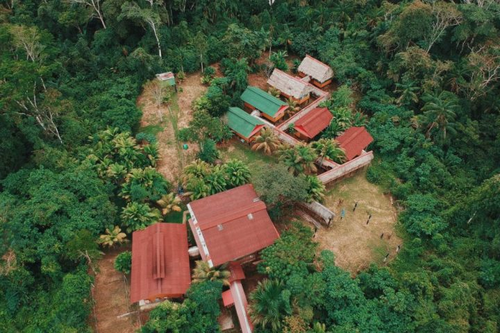 Drone picture of Amazon river lodge deep in the tropical jungle