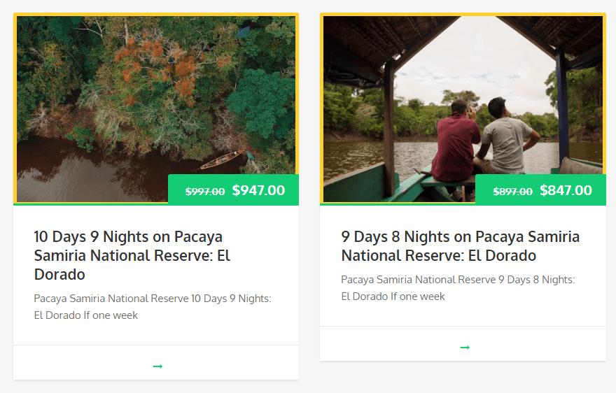 Tours in Pacaya Samiria El Dorado lake
