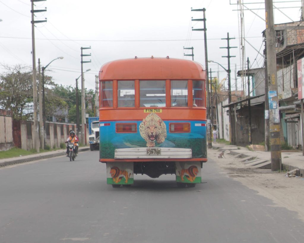 Wooden bus in Iquitos city