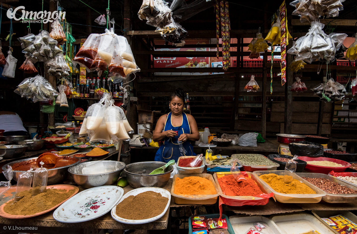 Many spices to choose from in Belen Market